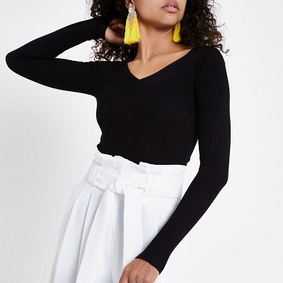 Black V neck long sleeve knitted top river island