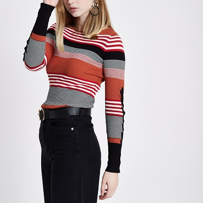 Brown stripe lace-up sleeve knitted top - River Island