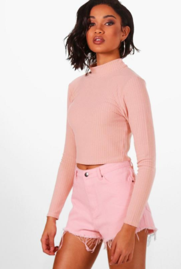 Sara Soft Rib Knit Crop Jumper boohoo