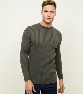 khaki-ribbed-muscle-fit-jumper