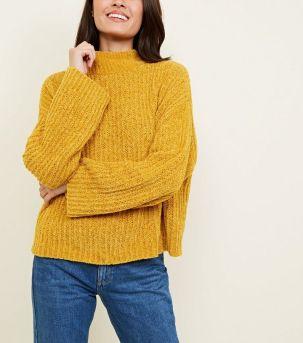 mustard-flared-sleeve-chenille-jumper